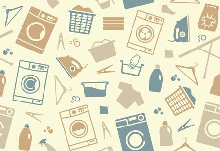Naadloze achtergrond op een thema van het wassen en verzorgen van kleding