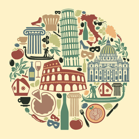 Set of icons on a theme of travel to Italy Vector