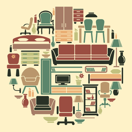 Icons of furniture and accessories for an interior Illustration