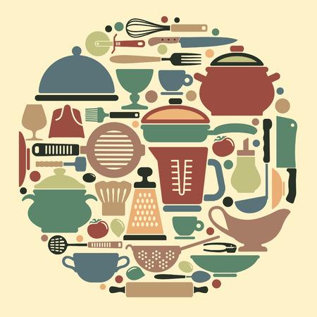 kitchen ware: Silhouettes of kitchen ware and utensils Illustration