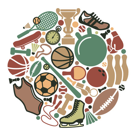 Icons of sports equipment in the form of a circle Vector