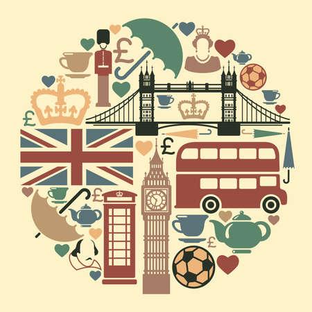 Los iconos de un tema de Inglaterra