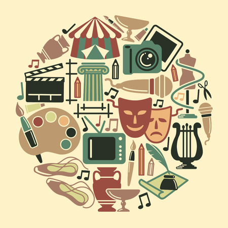 Symbolen van de verschillende kunsten in de vorm van een cirkel