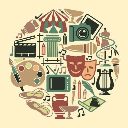 Symboles de divers arts sous la forme d'un cercle