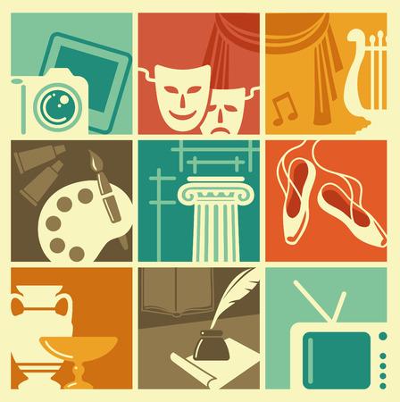 Vintage symbols of various arts