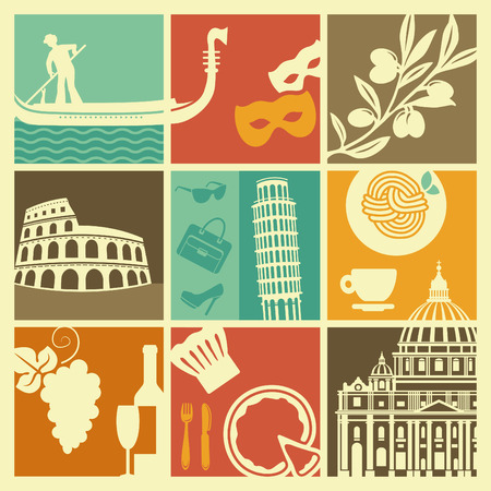 symbol tourism: Traditional symbols of Italy Illustration