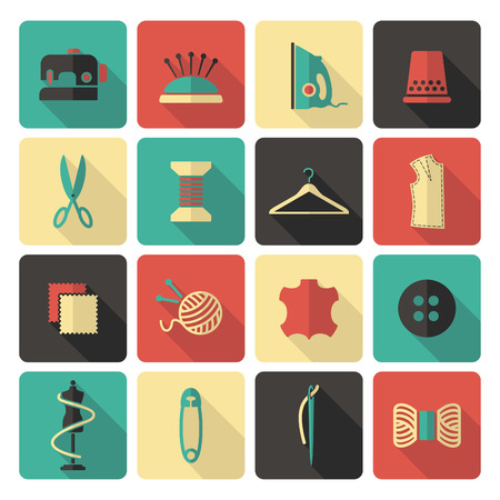 spool: Sewing and needlework icons Illustration