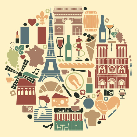 Symbols of France in the form of a circle Vector