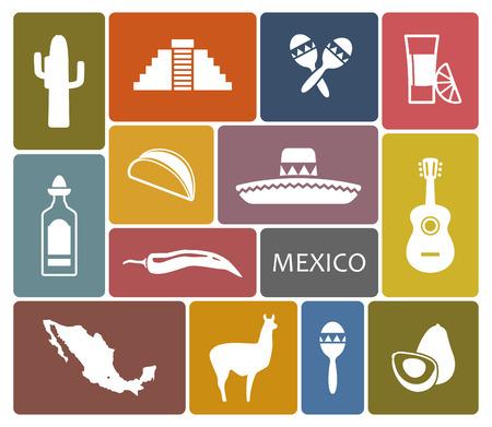 pungent: Mexico icons Illustration