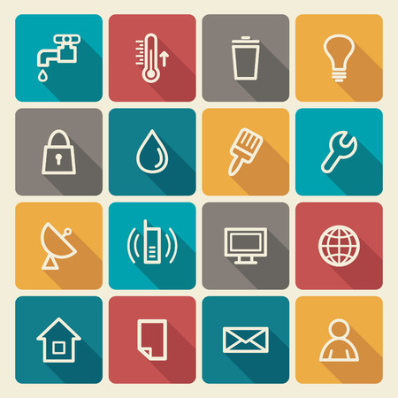 Utilities and engineering service of buildings icons Vector
