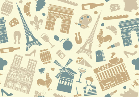 moulin: Seamless background on a theme of France Illustration