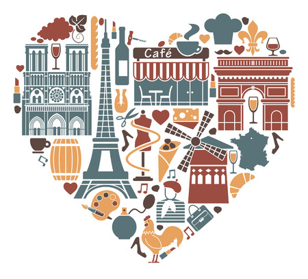 Traditional symbols of France in the form of heart Vector
