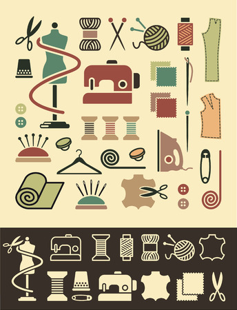 maquinas de coser: Costura y el bordado iconos Vectores