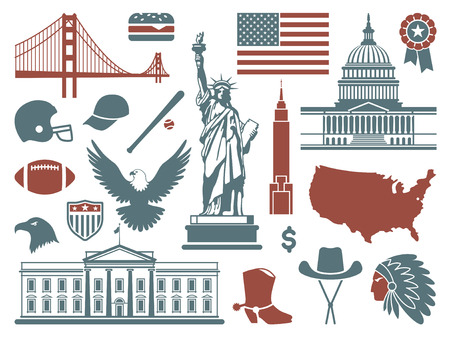 empire state building: Symbols of the USA Illustration