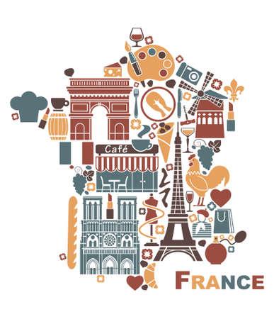 Símbolos de Francia en la forma de un mapa