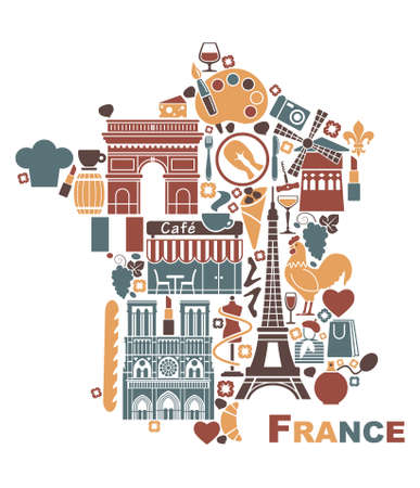 francia: Símbolos de Francia en la forma de un mapa