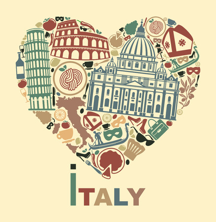 turismo: Símbolos tradicionales de Italia en la forma de corazón Vectores