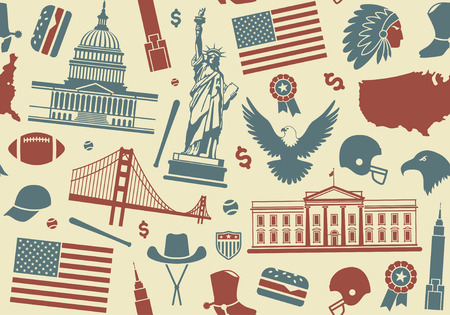 Seamless background with symbols of the USA Vector