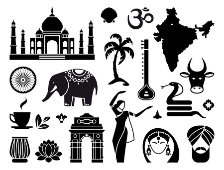 flower clip art: Icons of India