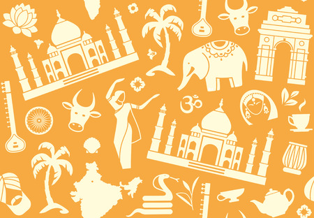 travel locations: Seamless background on a theme of India Illustration