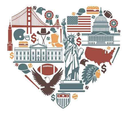 Icons of the USA in the form of heart Vector