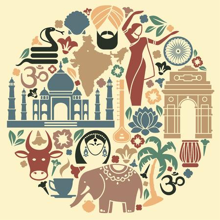 Icons von Indien in der Form eines Kreises Standard-Bild - 30548778