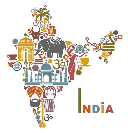 indianen: Kaart van India Stock Illustratie