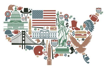 cultura: Símbolos tradicionales en la forma de un mapa de EE.UU.