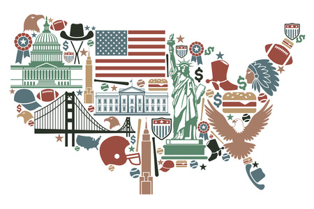 famous star: Traditional symbols in the form of a USA map