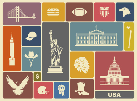 national monuments: Symbols of the USA Illustration