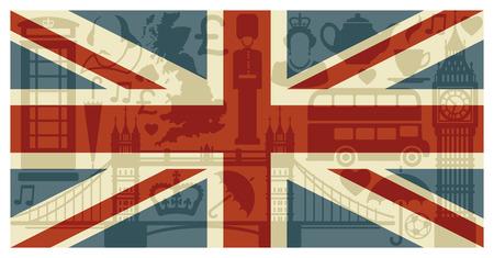 telephone booth: Flag of England Illustration