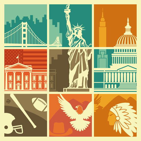 Traditional symbols of architecture and culture of the USA Illustration