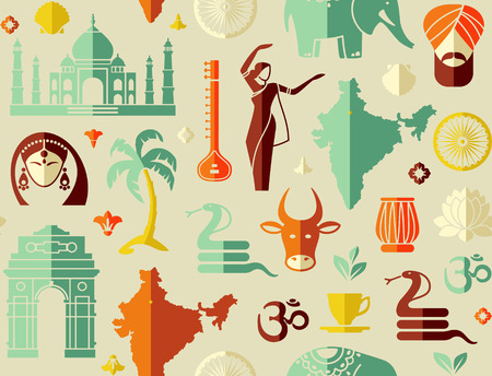 Seamless background on a theme of India Vector