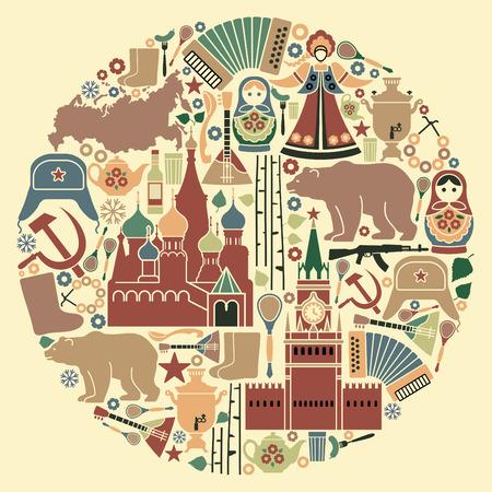 muñecas rusas: Iconos rusos en la forma de un círculo Vectores