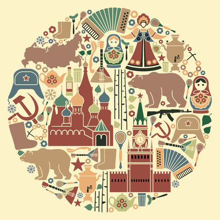 russian  russia: Russian icons in the form of a circle Illustration