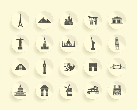 Famous Monument icons Set Vector