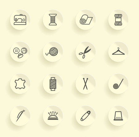 art and craft equipment: Sewing and needlework icons Illustration