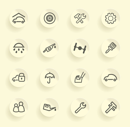 auto washing: Cars spare parts and service icons on stickers