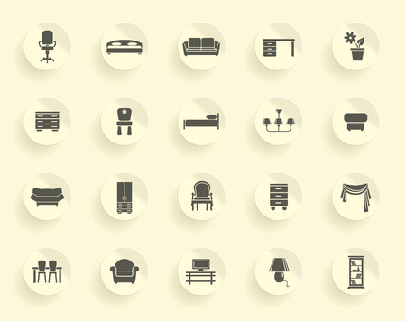 Icons of furniture and accessories for an interior Vector