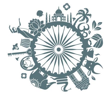 siluetas de elefantes: Los s�mbolos de La India Vectores