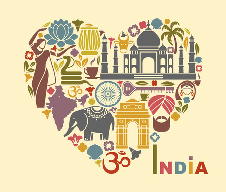 siluetas de elefantes: S�mbolos de la India en forma de coraz�n Vectores