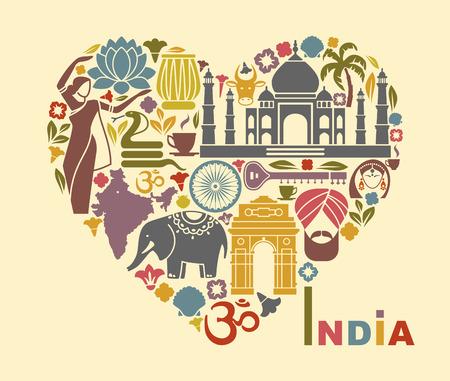 Symbolen van India in de vorm van een hart