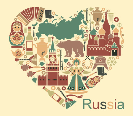 matreshka: Symbols of Russia in the form of heart