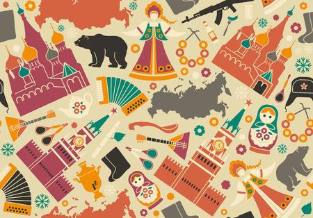 ロシアのシンボルとのシームレスな背景  イラスト・ベクター素材