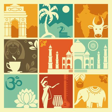 siluetas de elefantes: Símbolos de la India