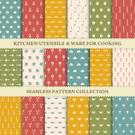 whisk: Collection of seamless backgrounds of kitchen utensils Illustration