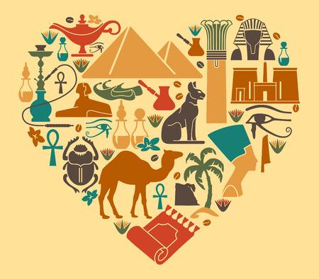 Símbolos de Egipto en la forma de un corazón