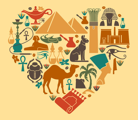 Symbols of Egypt in the shape of a heart Vector