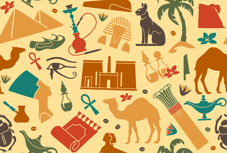 ancient egyptian culture: Egyptian seamless background Illustration