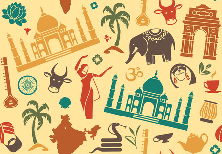 national monuments: Seamless background on a theme of India Illustration